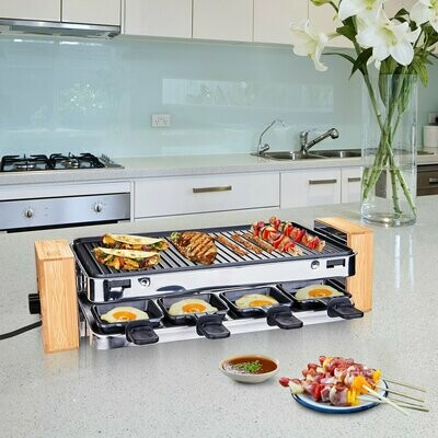 HOMCOM® Raclette Elektrogrill 2 Ebenen BBQ Tischgrill 1500 W Partygrill 8 Pfännchen Metall Bambus