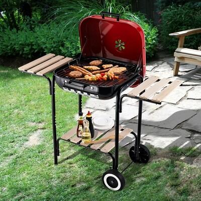 Outsunny® Kohlegrill Standgrill Grillwagen mit Windschutz 3 x Ablagefach Metall Rot 98 x 49 x 81 cm
