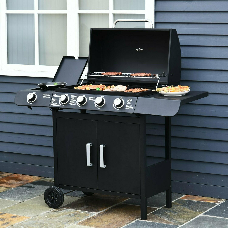Outsunny® Gasgrill Grillwagen Außenküche Standgrill BBQ mit 4 x Brenner Thermometer Edelstahl 122 x 55 x 98 cm