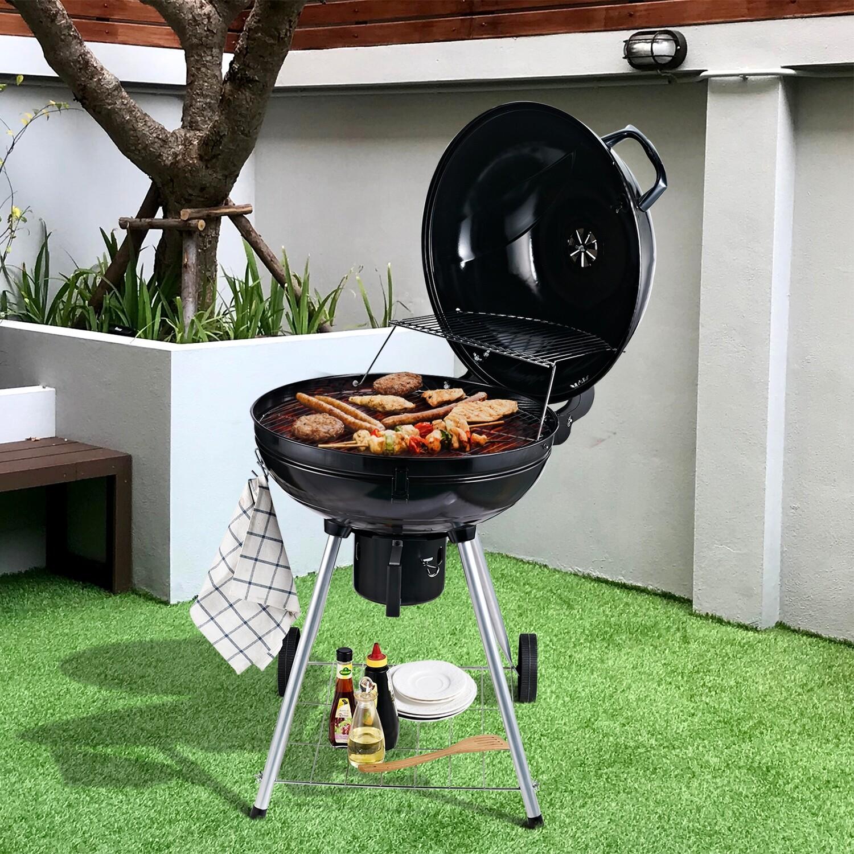 Outsunny® Grillwagen Kohlegrill Standgrill Kugelgrill BBQ rund mit Aschefänger Metall Schwarz Ø57 x 94 cm