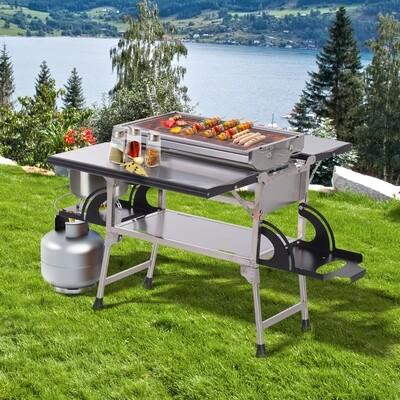 Outsunny® Klappgrill Gasgrill Standgrill tragbar Tischgrill Camping Garten BBQ Edelstahl Silber 58 x 34,2 x 34 cm