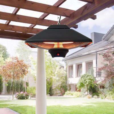 Outsunny® Heizstrahler mit Fernbedienung | LED Beleuchtung | 2000W | 43 x 43 x 25cm | Schwarz