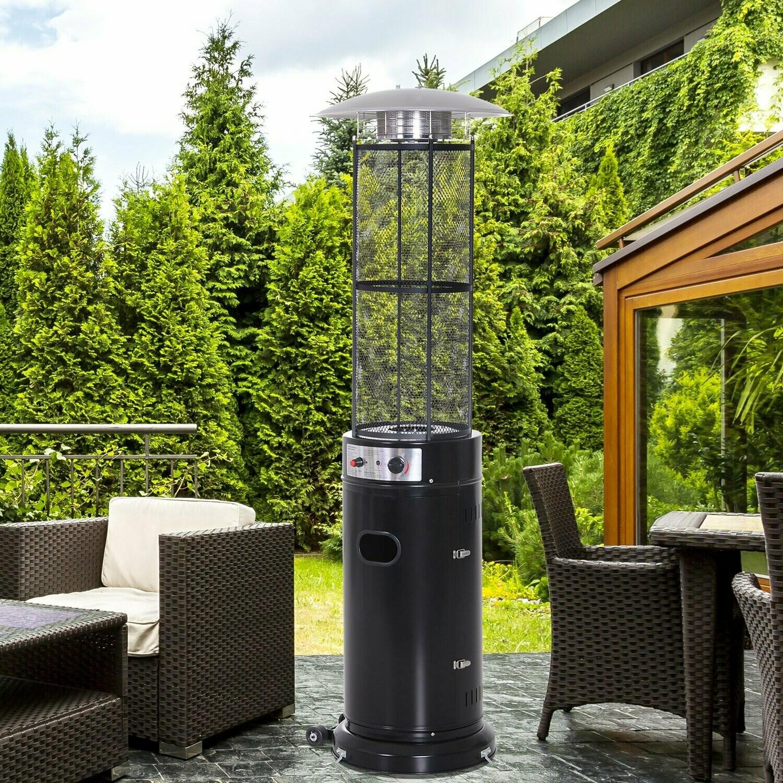 Outsunny® Sommer & Winter Gas Heizstrahler mit Rädern | Heizpilz | Edelstahl | Schwarz | 53 x 180 cm