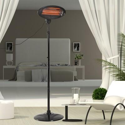 Outsunny® Heizstrahler Freistehender Terrassenheizer Quartz elektrisch 360° drehbar 2KW Ø50 x H(180-210) cm