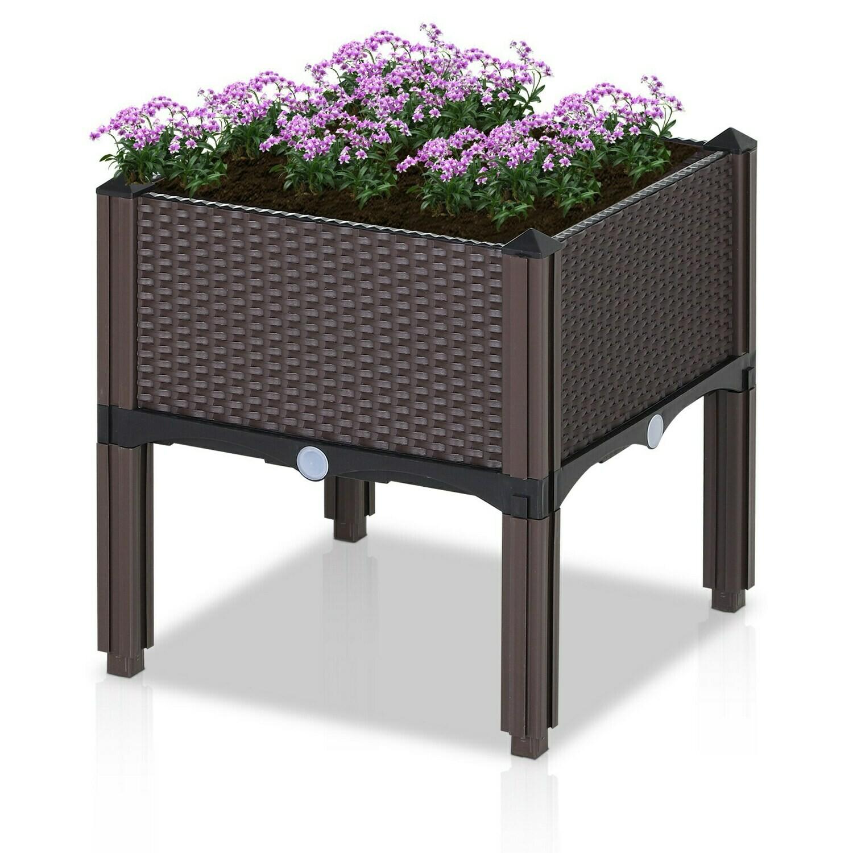 Outsunny® Gartenbeet Hochbeet Pflanzkasten Blumenkasten Rattan-Look Abflusslöcher PP Braun