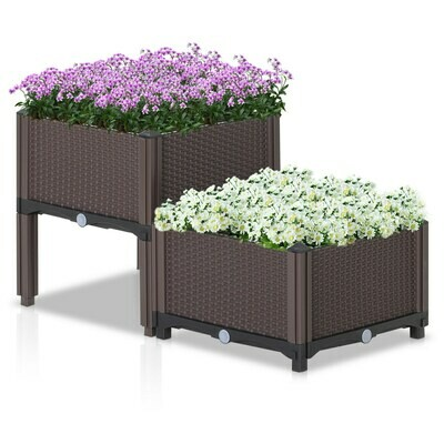 Outsunny® Gartenbeet Hochbeet Pflanzkasten 2-teilig Blumenkasten Abflusslöcher PP Braun