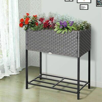 Outsunny® Hochbeet, Blumenkasten, Blumentopf mit Ablage, Bewässerung, Rattan Braun 70 x 30 x 72 cm