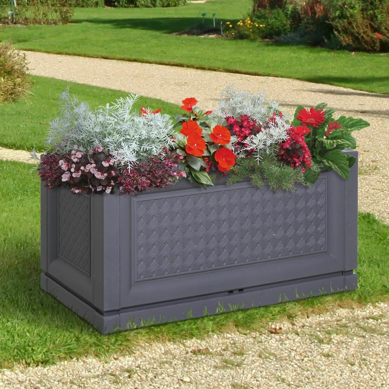 Outsunny® Gartenbeet Hochbeet Pflanzkasten Blumenkasten 2 Muster Abflusslöcher PP Grau 60 x 30 x 29 cm
