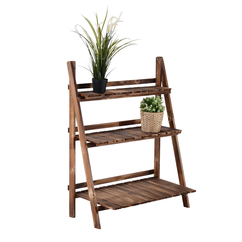 Outsunny® Pflanzentreppe L80 x W37 x H93cm Blumenregal 3 Stufen Tannenholz