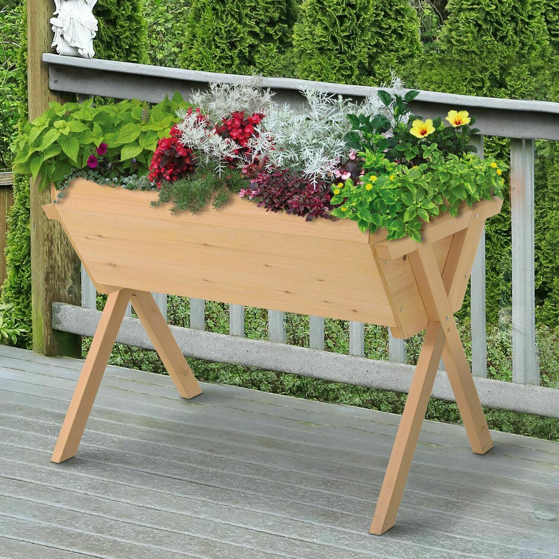 Outsunny® Hochbeet Pflanzkasten Blumenkasten Blumentopf Abfluss Vliesstofftuch Massivholz