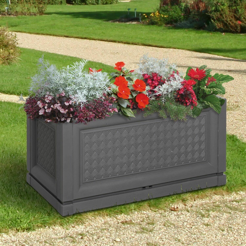 Outsunny® Hochbeet Gartenbeet Pflanzkasten Blumenkasten 2 Muster Abflusslöcher PP Kaffee 60 x 30 x 29 cm