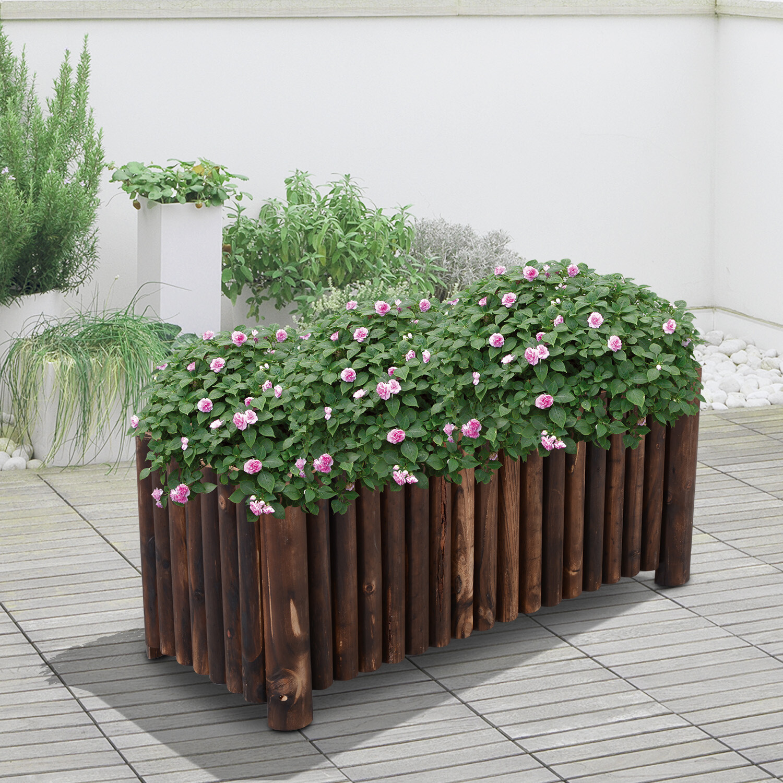 Outsunny® Hochbeet L100 x W40 x H40cm Pflanzkasten Gemüsebeet Holz