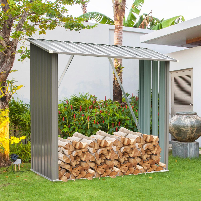 Outsunny® Kaminholzregal Außen Holzunterstand Kaminholz Brennholz Stapelhilfe 1,13 m³ Stahl Grau