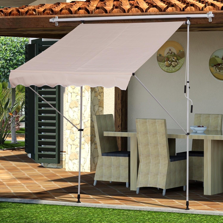 Outsunny® Sonnenstore Markise Klemmmarkise Sonnenschutz Beige 200 x 150cm