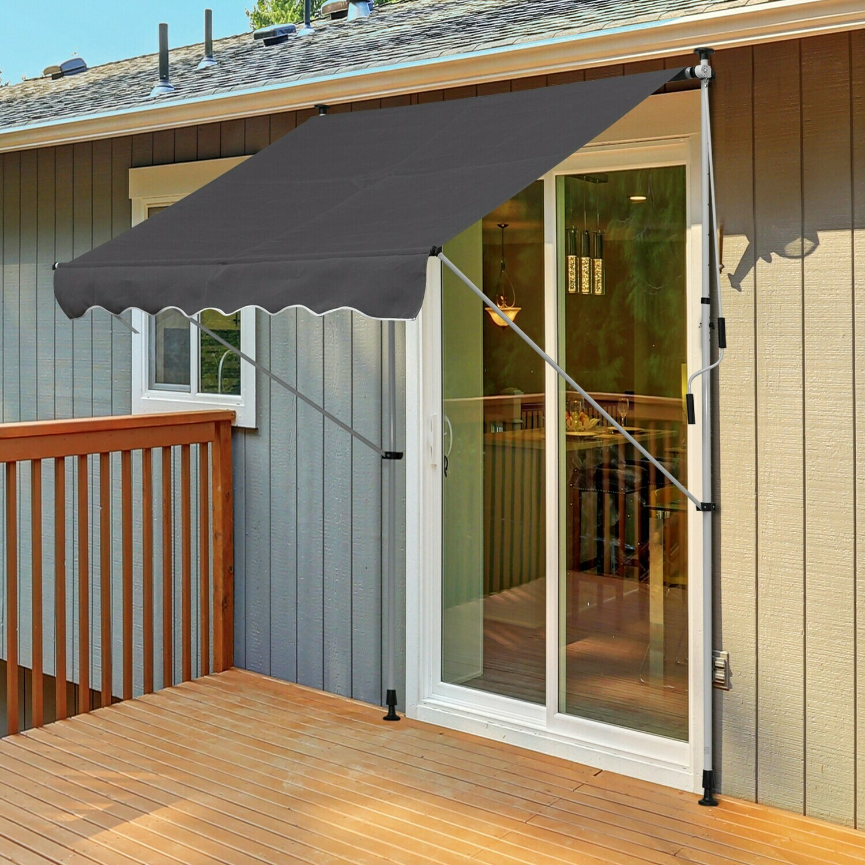 Outsunny® Sonnenstore Markise Klemmmarkise Grau 200 x 150cm