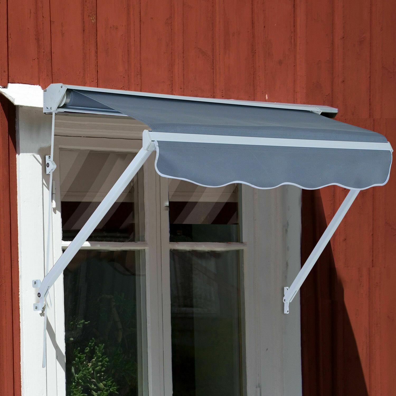 Outsunny® Sonnenstore Markise 122cm x 70cm Balkonmarkise Faltarm Seilzug grau