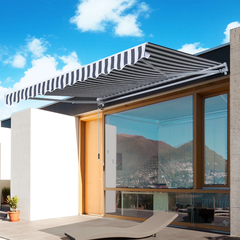 Outsunny® Sonnenstore Markise Gelenkarmmarkise Sonnenschutz Grau+Weiß 2,95x2,5m