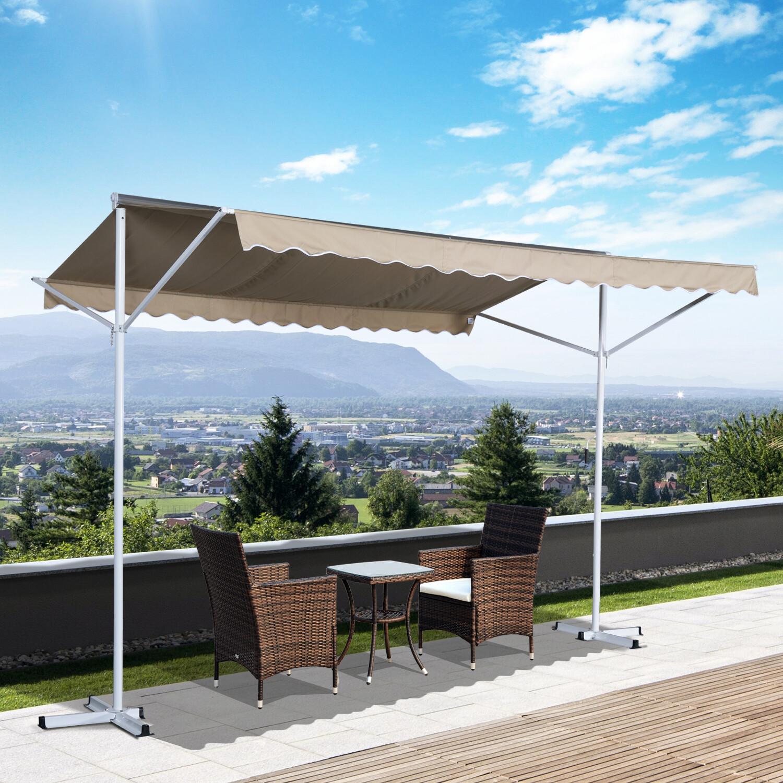 Outsunny® Sonnenstore Standmarkise Gartenmarkise mit Faltarm Creme 2,95x2,94m