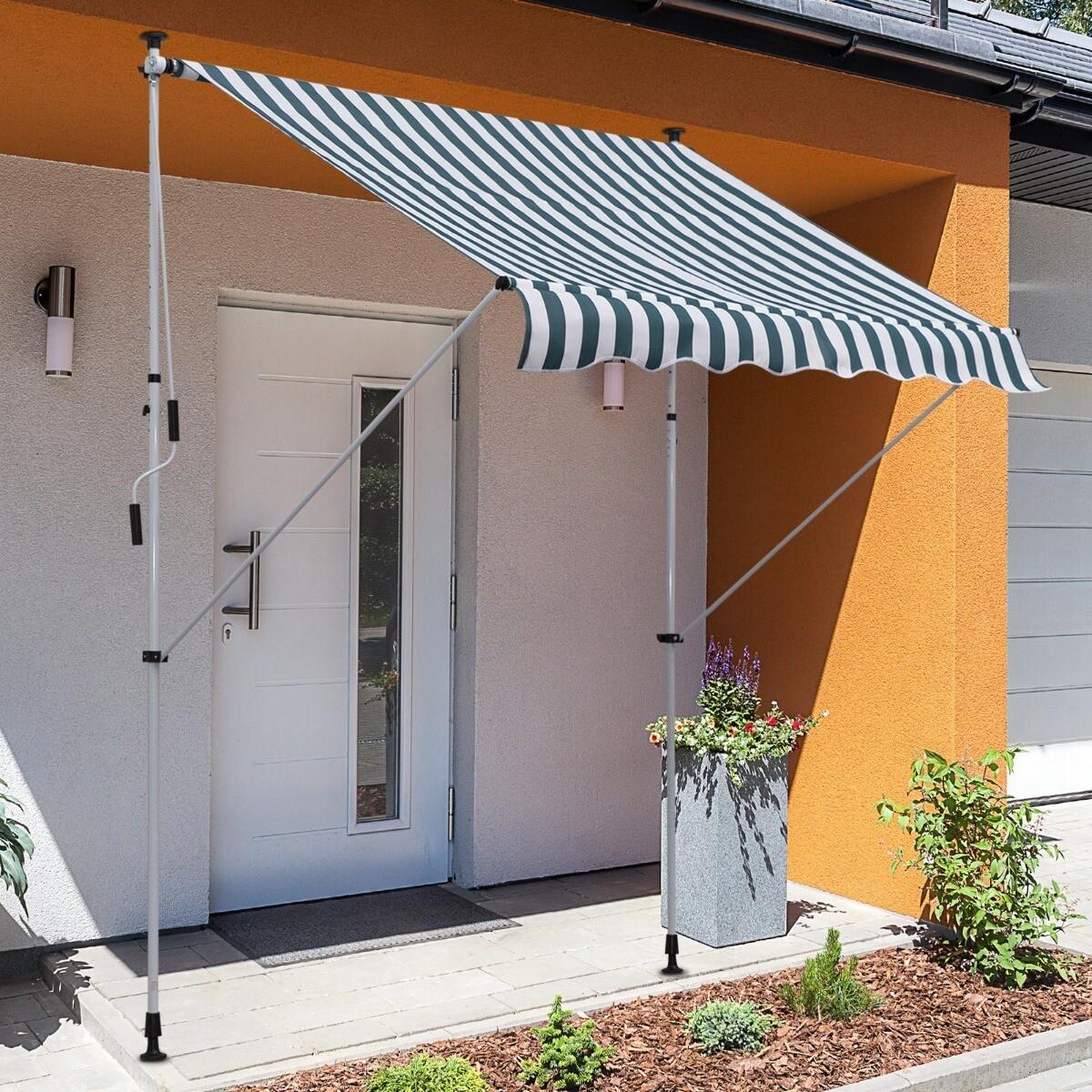 Outsunny® Sonnenstore Markise Klemmmarkise Faltarm Sonnenschutz Handkurbel Balkon Alu 2x1,5m Grün