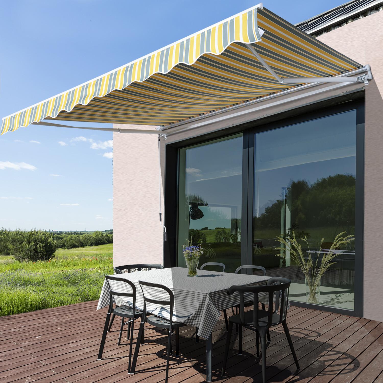 Outsunny® Sonnenstore Markise Gelenkarmmarkise Sonnenschutz Gelb+Grau 3,5x2,5m