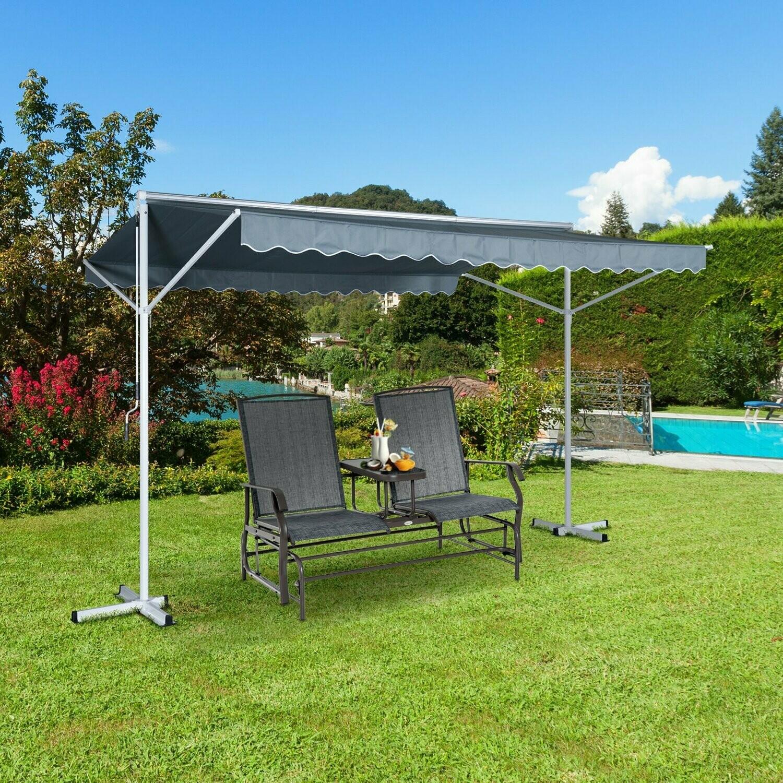 Outsunny® Sonnenstore Standmarkise Gartenmarkise mit Faltarm Grau 3,95x2,94m