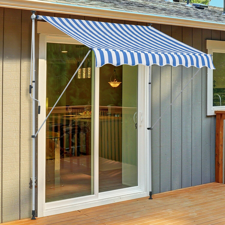 Outsunny® Sonnenstore Markise Klemmmarkise Faltarm Sonnenschutz Handkurbel Balkon Alu 2x1,5m Blau