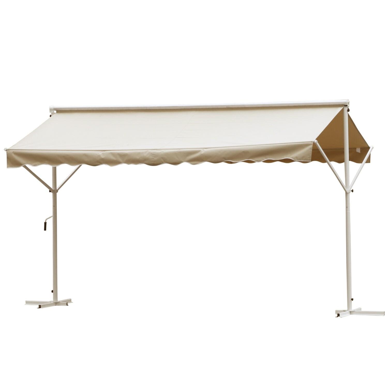 Outsunny® Sonnenstore Standmarkise Gartenmarkise mit Faltarm Creme 3,95x2,94m