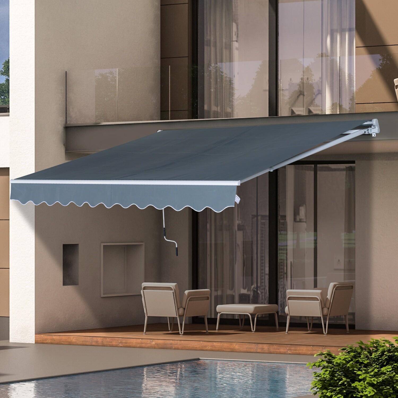 HOMCOM® Sonnenstore Markise Gelenkarmmarkise Sonnenschutz Grau 3,95x2,5m