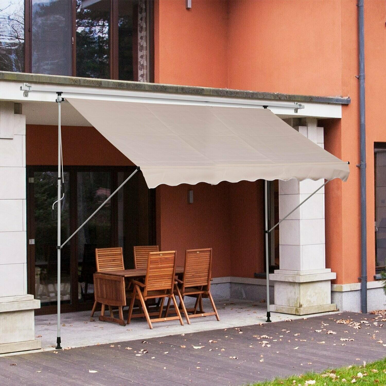 HOMCOM® Sonnenstore Markise Klemmmarkise Beige 300 x 150cm