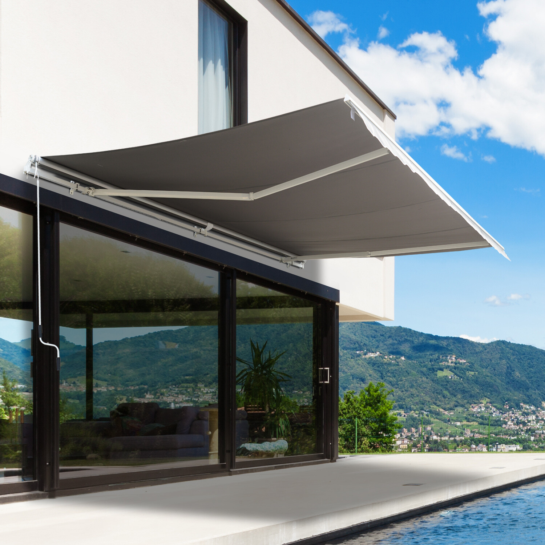 HOMCOM® elektrische Sonnenstore Markise inkl. Fernbedienung 4,95x3m Gelenkarmmarkise Kurbel Alu Grau