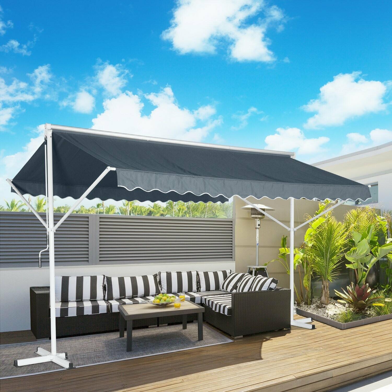 HOMCOM® Sonnenstore Standmarkise Gartenmarkise mit Faltarm Grau 4,5x3,42m
