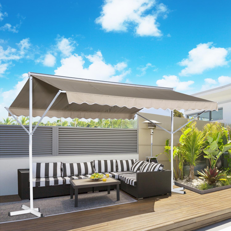 HOMCOM® Sonnenstore Standmarkise Gartenmarkise mit Faltarm Creme 4,5x3,42m