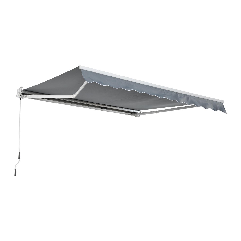 HOMCOM® Sonnenstore Markise 3,5m x 2,5m Gelenkarmmarkise Handkurbel Grau Alu