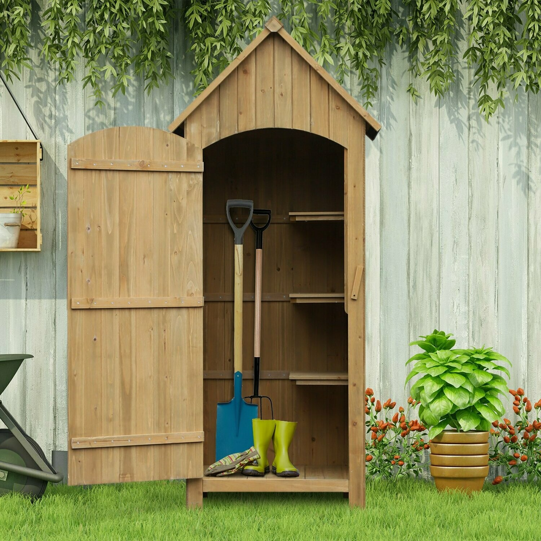 Outsunny® Gerätehaus Gartenschrank Geräteschuppen Holzhütte Giebeldach Bitumenpappe Holz Natur 77,5 x 54,2 x 179,5 cm