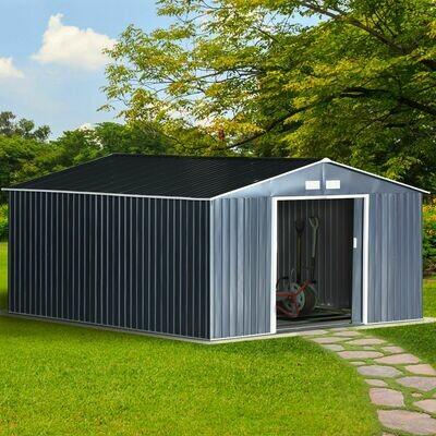 Outsunny® Gartengerätehaus | Stahl, PP | 340 x 382 x 200 cm | Grau