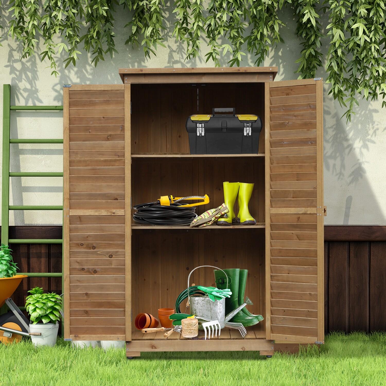 Outsunny® Gartenschrank mit Lamellentüren   Gerätehaus   87 x 46,5 x 160 cm   Natur