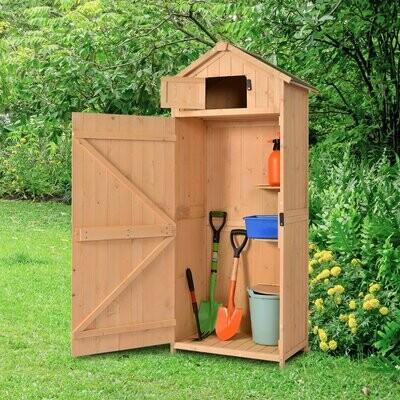 Outsunny® Gartenhaus Gerätehaus Geräteschuppen mit Fachböden Asphaltdach Fenster Holz Natur 77 x 54,2 x 179 cm
