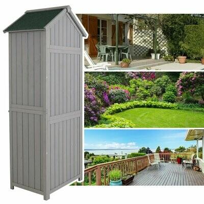 Outsunny® Gartenhaus Gerätehaus Geräteschuppen mit Fachböden Asphaltdach Fenster Holz Grau 77 x 54,2 x 179 cm
