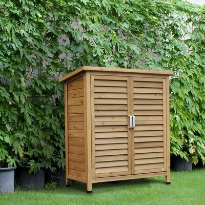 Outsunny® Holz Gartenschrank Gerätehaus Gartenhaus Geräteschuppen Holzhütte Bitumenpappe Fensterladen Natur 87 x 46,5 x 96,5 cm
