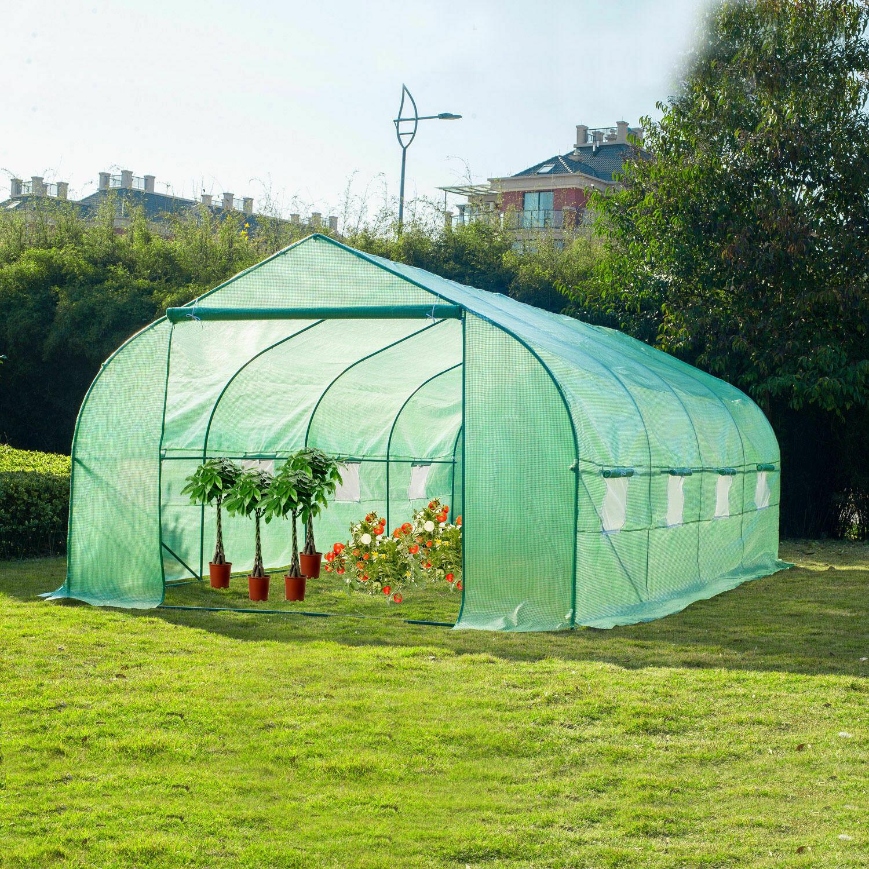 Outsunny® Folien- und Gewächshaus Pflanzenhaus 6x3x2m mit Giebeldach