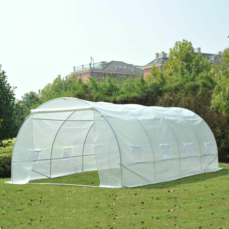 Outsunny® Foliengewächshaus Gewächshaus Pflanzenhaus 8 Seitenfenster weiß 6x3x2m