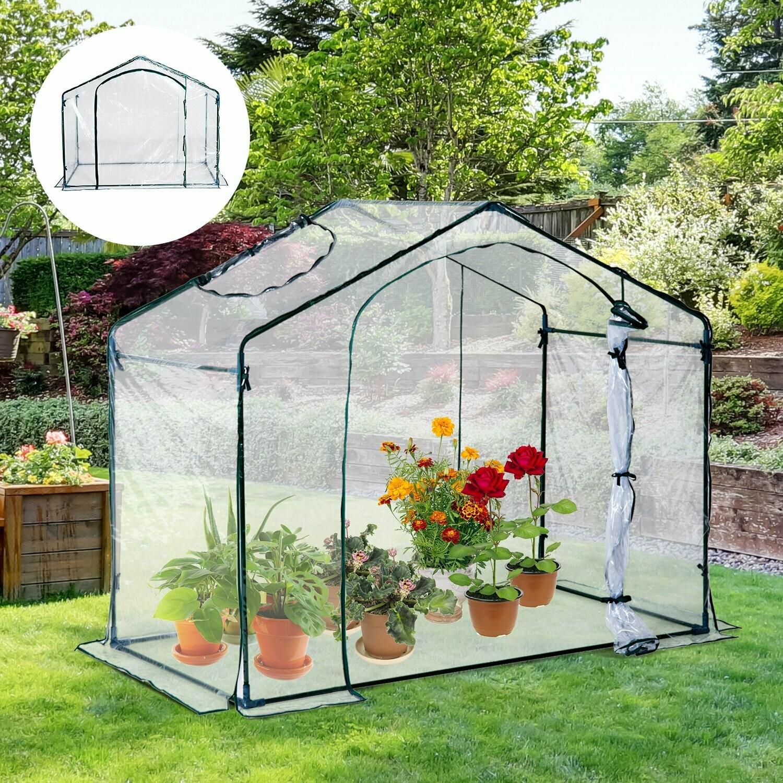 Outsunny® Gewächshaus mit Fenster Stahl 180x105x150cm