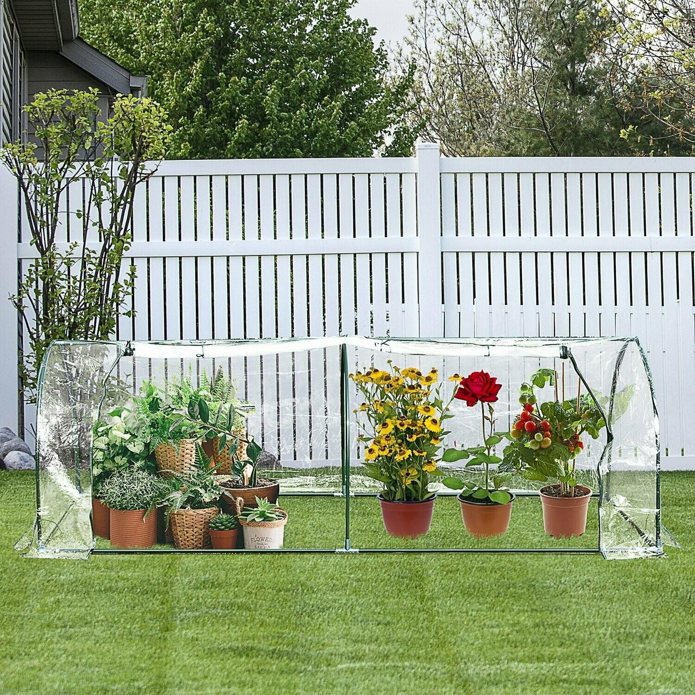 Outsunny® Gewächshaus Treibhaus Frühbeet mit Tür Pflanzenhaus Pflanzenaufzucht Stahl PVC