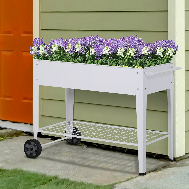 Outsunny® Hochbeet Mobiler Pflanzenwagen mit Stauraum Pflanzenbeet 2 Rollen Metall Weiss