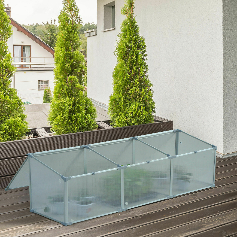 Outsunny® Alu-Gewächshaus Frühbeet Treibhaus Aufzucht Pflanzenhaus 3 separate Deckel PC 180 x 51 x 51 cm