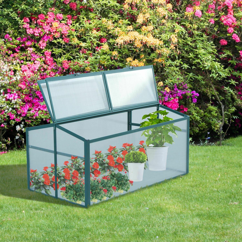 Outsunny® Alu-Gewächshaus Frühbeet Treibhaus Aufzucht Pflanzenhaus 4 Öffnungen PC 130 x 70 x 53 cm