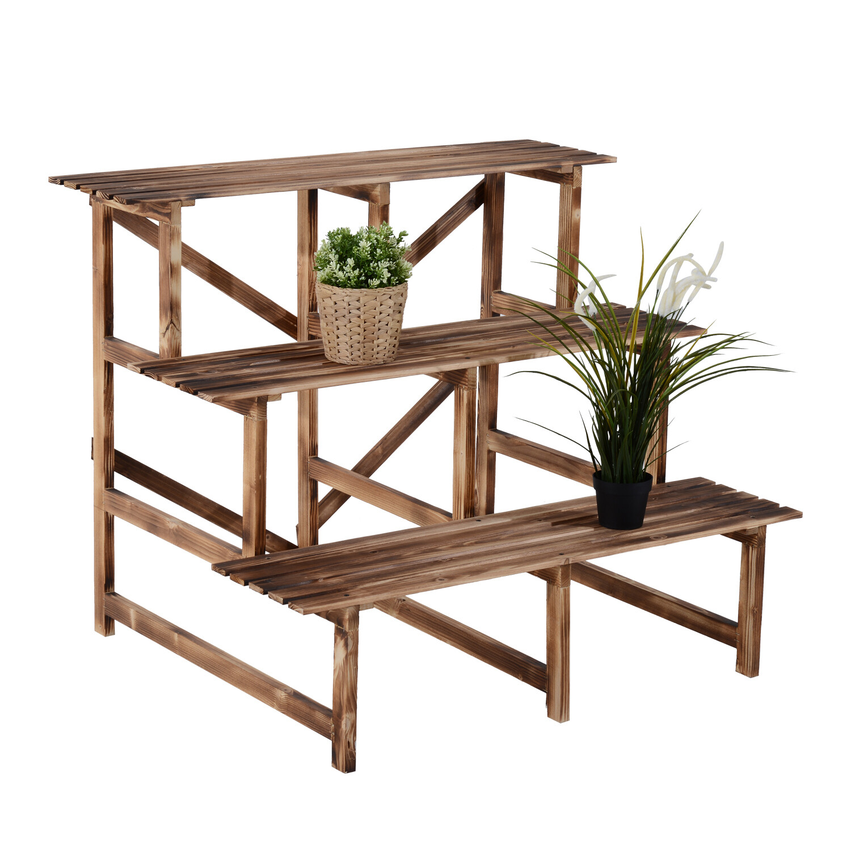 Outsunny® Pflanzentreppe Blumenregal Tannenholz 3 Stufen L100 x W80 x H80cm
