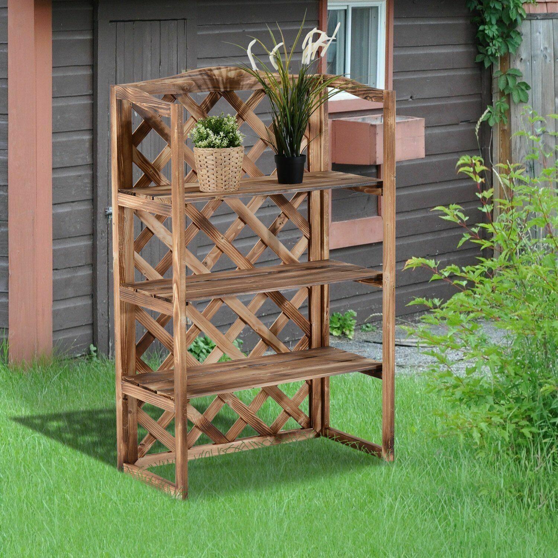 Outsunny® Pflanzregal Blumenregal Blumenständer Gartenregal 3 x Ebene Metall Klappbar Silbergrau 44 x 25 x 96 cm