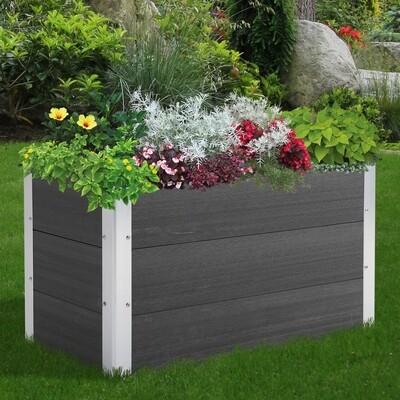 Outsunny® Pflanzkasten Blumenkübel Blumenkasten wetterfest Grau WPC + Aluminium 100 x 50 x 50 cm