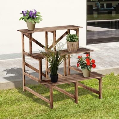 Outsunny® Pflanzentreppe Blumenregal Tannenholz 3 Stufen L80 x W80 x H80cm